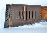 Патронташ на приклад на 6 патронов (7,62 нарезные) на липучке кожа Ретро коричневый