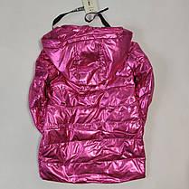 Детская демисезонная куртка пальто для девочки малиновая блеск 8-9 лет, фото 3