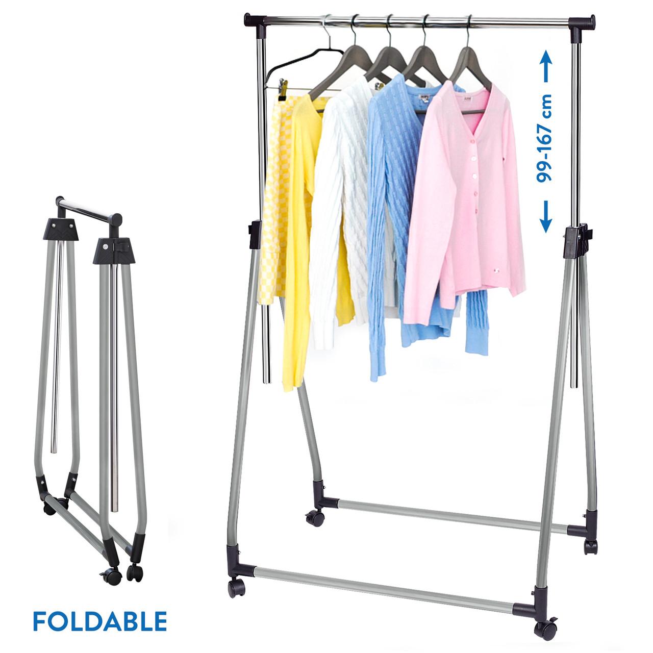 Стойка для одежды Tatkraft Halland складная на колесиках из хромированной стали 89Шх49Гx99x167В см (13247)