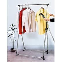 Стойка для одежды Tatkraft Halland складная на колесиках из хромированной стали 89Шх49Гx99x167В см (13247), фото 2
