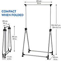 Стойка для одежды Tatkraft Halland складная на колесиках из хромированной стали 89Шх49Гx99x167В см (13247), фото 3