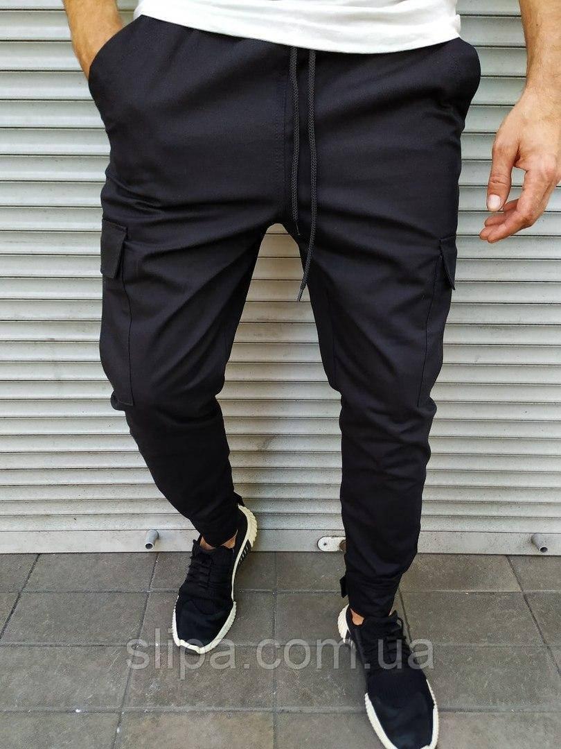 Чоловічі штани джоггеры чорні, завужені на липучці
