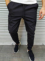 Чоловічі штани джоггеры чорні, завужені на липучці, фото 1