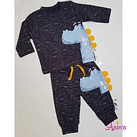 """Детский трикотажный костюм """"Dino"""" тёмно- синий Турция 3-18 мес"""