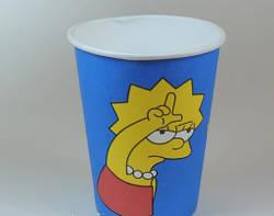 """Кольоровий паперовий одноразовий стакан """"Симсоны"""" 250 мл, 50 шт"""