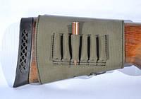 Патронташ на приклад на 6 патронов (7,62 нарезные) на липучке кожа Ретро оливковый