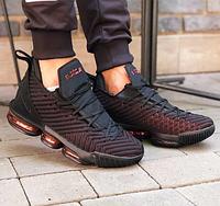 Nike Lebron 16 Black Gold Red| кроссовки мужские; найк; черные/красные; пена