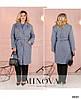 Женское стильное демисезонное пальто прямого свободного силуэта с поясом, батал большой размер, фото 4