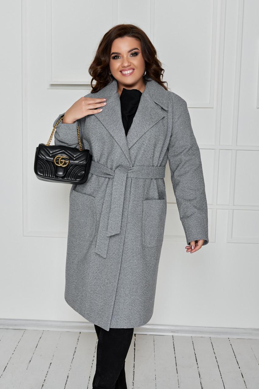 Стильне жіноче демісезонне пальто прямого вільного силуету з поясом, батал великий розмір