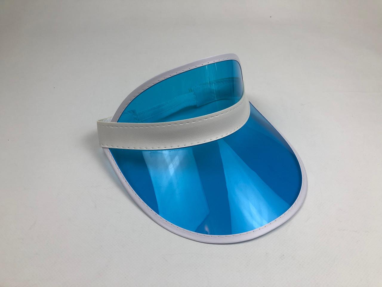 Женский пластиковый солнцезащитный Козырёк City-A на голову от солнца прозрачный Голубой
