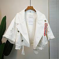 Куртка белый джинс  с рукавом до локтя Ritafink