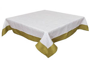 Скатерть льняная на стол с зеленым кантом 140х220 см