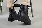 Ботинки женские кожаные черные на шнурках зимние, фото 3