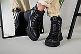 Ботинки женские кожаные черные на шнурках зимние, фото 4