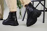 Ботинки женские кожаные черные на шнурках зимние, фото 5
