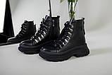 Ботинки женские кожаные черные на шнурках зимние, фото 9