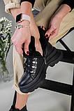 Ботинки женские кожаные черные на шнурках зимние, фото 7