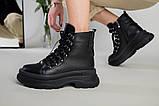Ботинки женские кожаные черные на шнурках зимние, фото 10