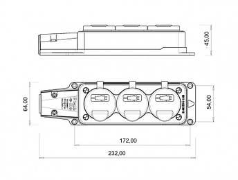 Розетка настінна потрійна, з кришкою BEMIS 1P + N + E 220-250В 16А каучукова IP54, фото 2