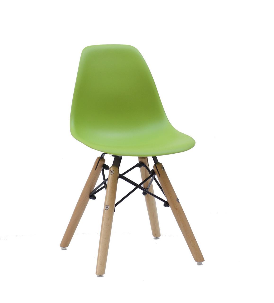 Детский стул из пластика Kids Nik (Кидс Ник) зеленый 41 + ноги буковые