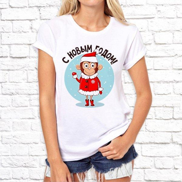 """Жіноча футболка з новорічним принтом """"З новим роком!"""" Push IT"""