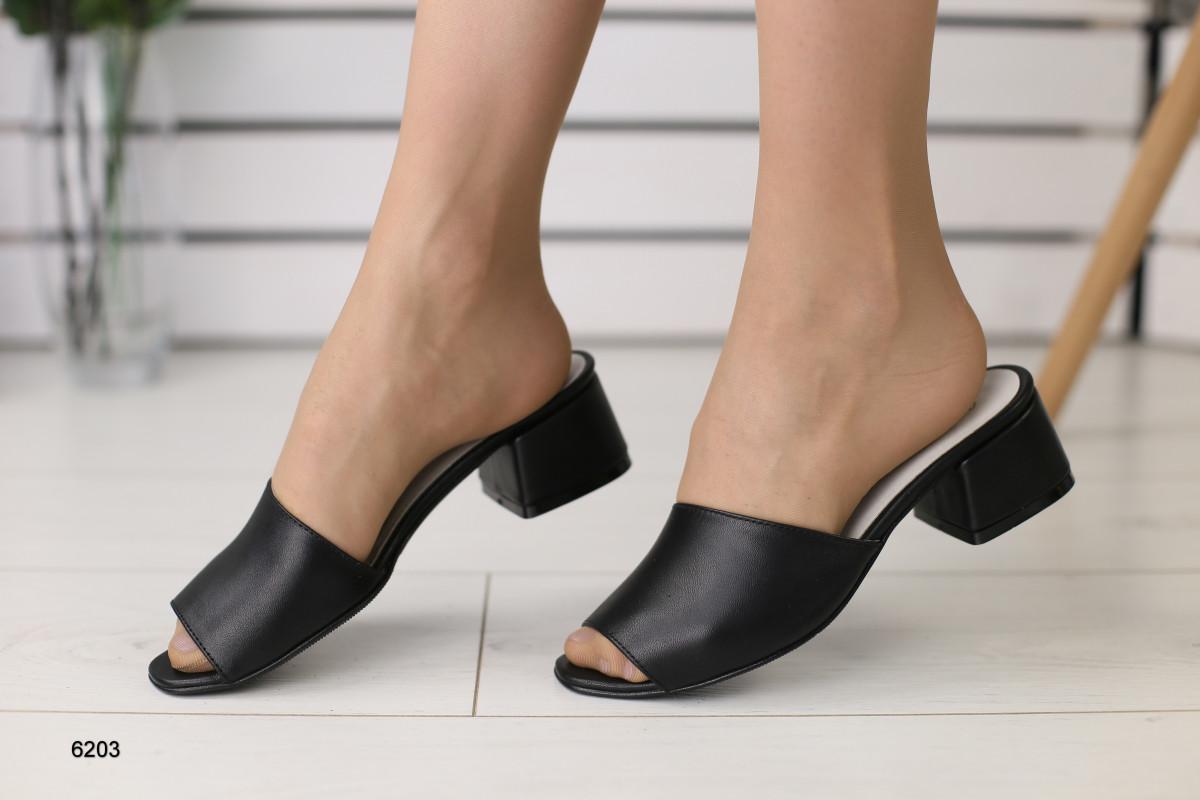 Женские кожаные закрытые шлепанцы на каблуке 36