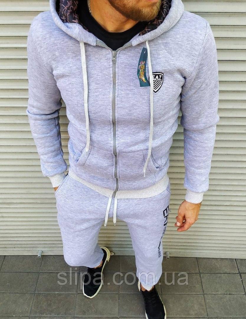 Утепленный мужской спортивный костюм серый Emporio Armani