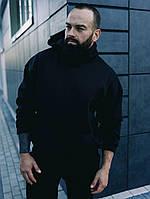 Спортивный костюм мужской ЗИМНИЙ на флисе Boss черный | костюм теплый зима флисовый с капюшоном ЛЮКС качества
