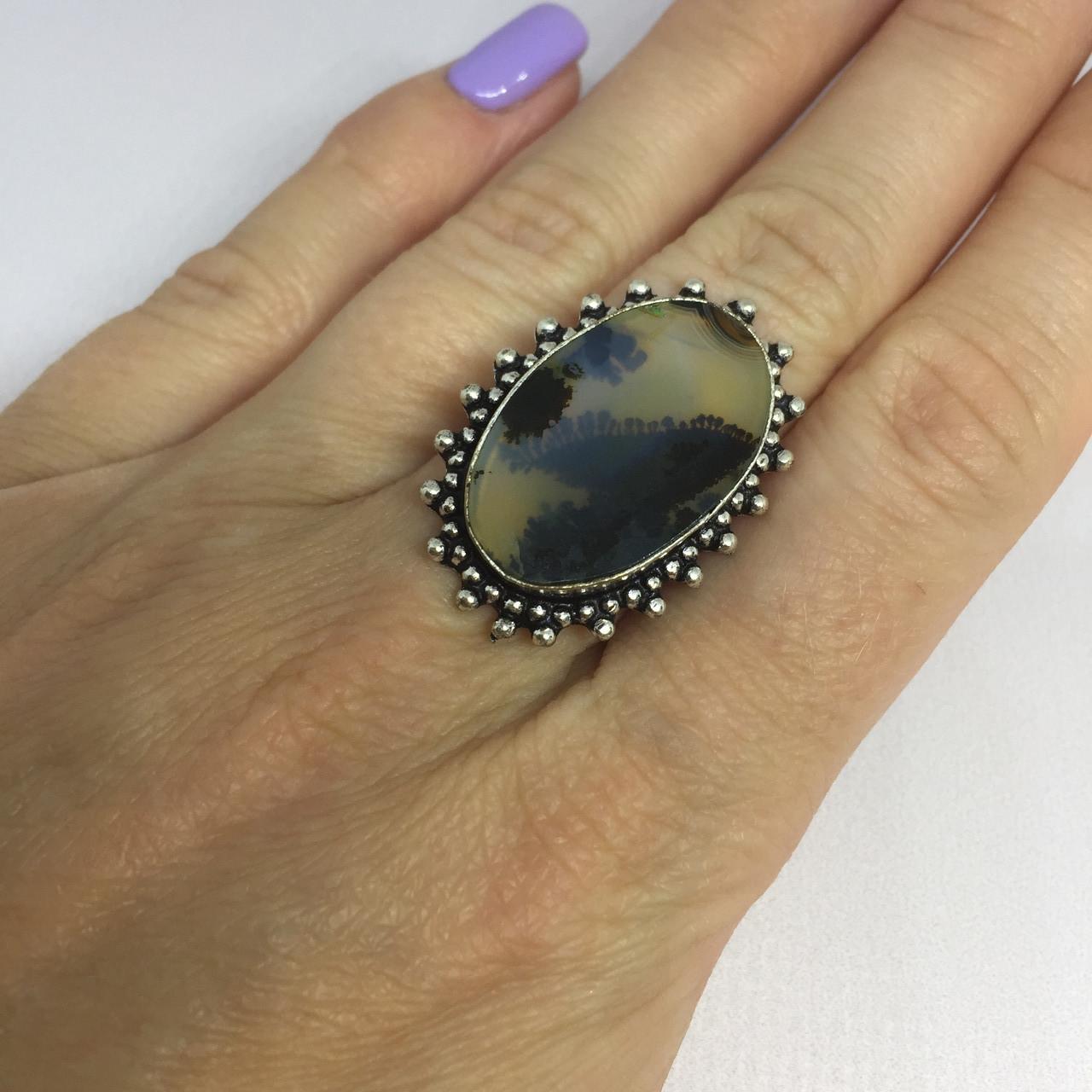 Кольцо дендро-опал красивое кольцо с дендро-опалом в серебре размер 16,5 Индия