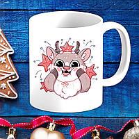 Белая кружка (чашка) с новогодним принтом Олень