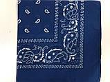 Хлопковая тёмно и светло синяя  бандана с рисунком 55 х 55 см, фото 3