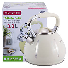 Чайник Kamille Бежевый 3л из нержавеющей стали со свистком KM-0691A
