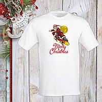 """Футболка з новорічним принтом Дід Мороз на скейті """"Merry Christmas"""" 2 Push IT S, Білий"""