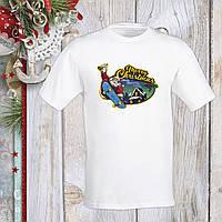 """Футболка з новорічним принтом Дід Мороз на скейті c дзвіночком """"Merry Christmas"""" Push IT S, Білий"""