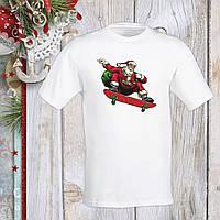 Футболка з новорічним принтом Дід Мороз на скейті c мішком Push IT S, Білий