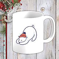 Біла кружка (чашка) з новорічним принтом Білий ведмідь в шапці