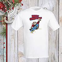 """Футболка з новорічним принтом Дід Мороз на скейті """"Merry Christmas"""" Push IT S, Білий"""