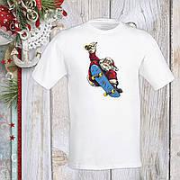 Футболка з новорічним принтом Дід Мороз на скейті Push IT S, Білий