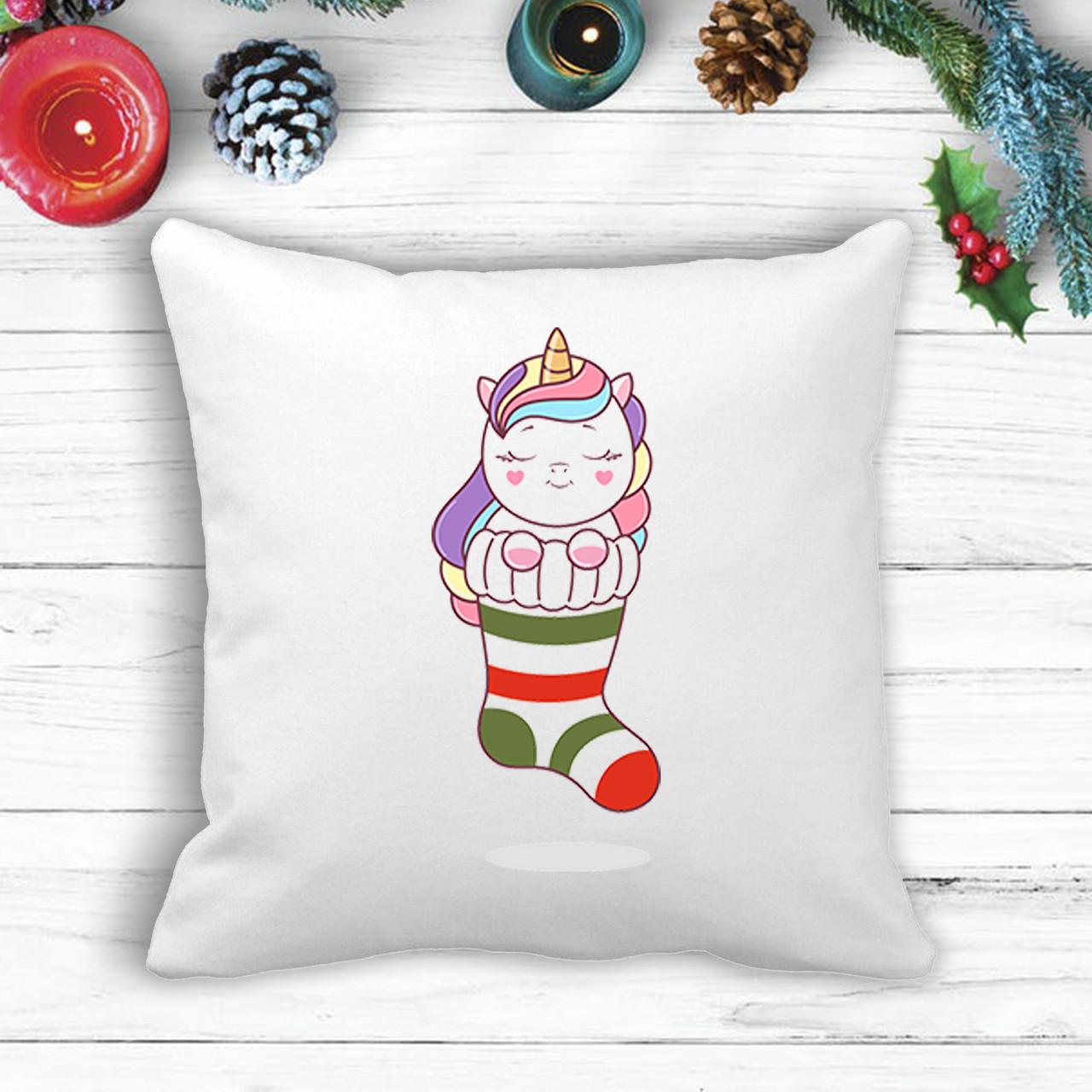 Подушка з новорічним принтом Единорожка в шкарпетці