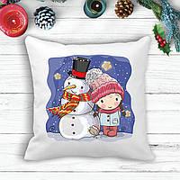 Подушка с новогодним принтом Девочка и снеговик