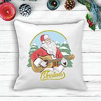Подушка с новогодним принтом Дед Мороз с гитарой