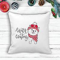 """Подушка з новорічним принтом Щеня """"Winter is coming"""""""