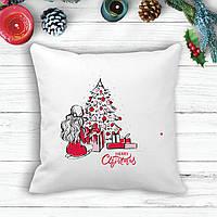"Подушка с новогодним принтом Девушка у елки с подарками ""Merry Cristmas"""