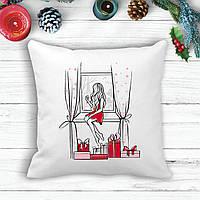 Подушка с новогодним принтом Девушка у окна с подарками