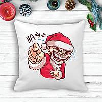 """Подушка с новогодним принтом Дед Мороз """"Ha HA HA"""""""