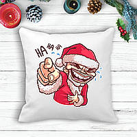 """Подушка з новорічним принтом Дід Мороз """"Ha HA HA"""""""