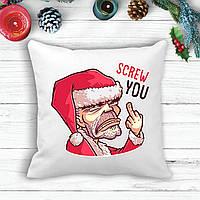 """Подушка з новорічним принтом Дід Мороз """"Screw you"""""""