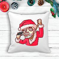 """Подушка з новорічним принтом Дід Мороз """"Самогубець"""""""