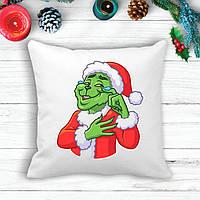 Подушка с новогодним принтом Гринч (The Grinch) В слезах