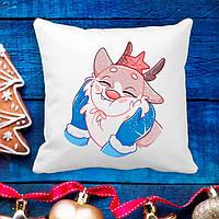 Подушка з новорічним принтом Оленя 2